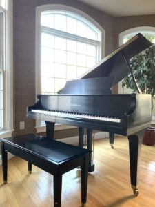 baldwin piano, baby grand, parlor grand, black laquer piano, used instruments for sale, piano teacher, student piano