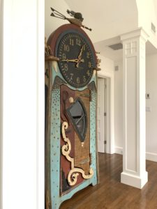 Richard Dunbrack, The Thieving Magpie, Repurposed Materials, Marthas Vineyard, Unique clock, grandfather clock, found items, one mans trash, estate sale, hunt estate sales, boston real estate, lexington ma
