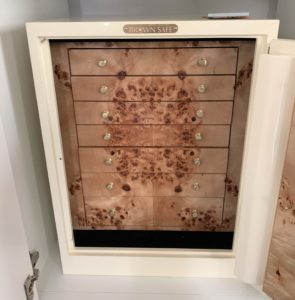 brown safe, top of the line, home security, jewelry safe, burl wood, chestnut hill, boston, shopping, second hand, hunt estate sales